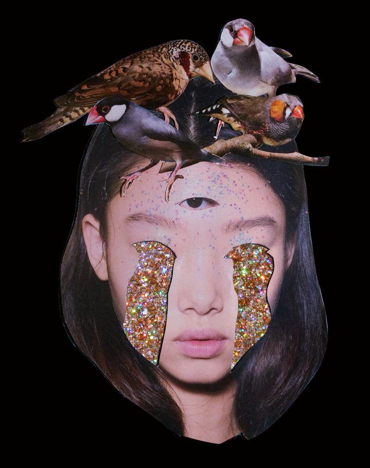 BIRD mixed media collage = pape - sickbbbb | ello