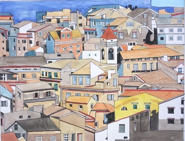 Corfu - watercolor, illustration - whitneysanford   ello