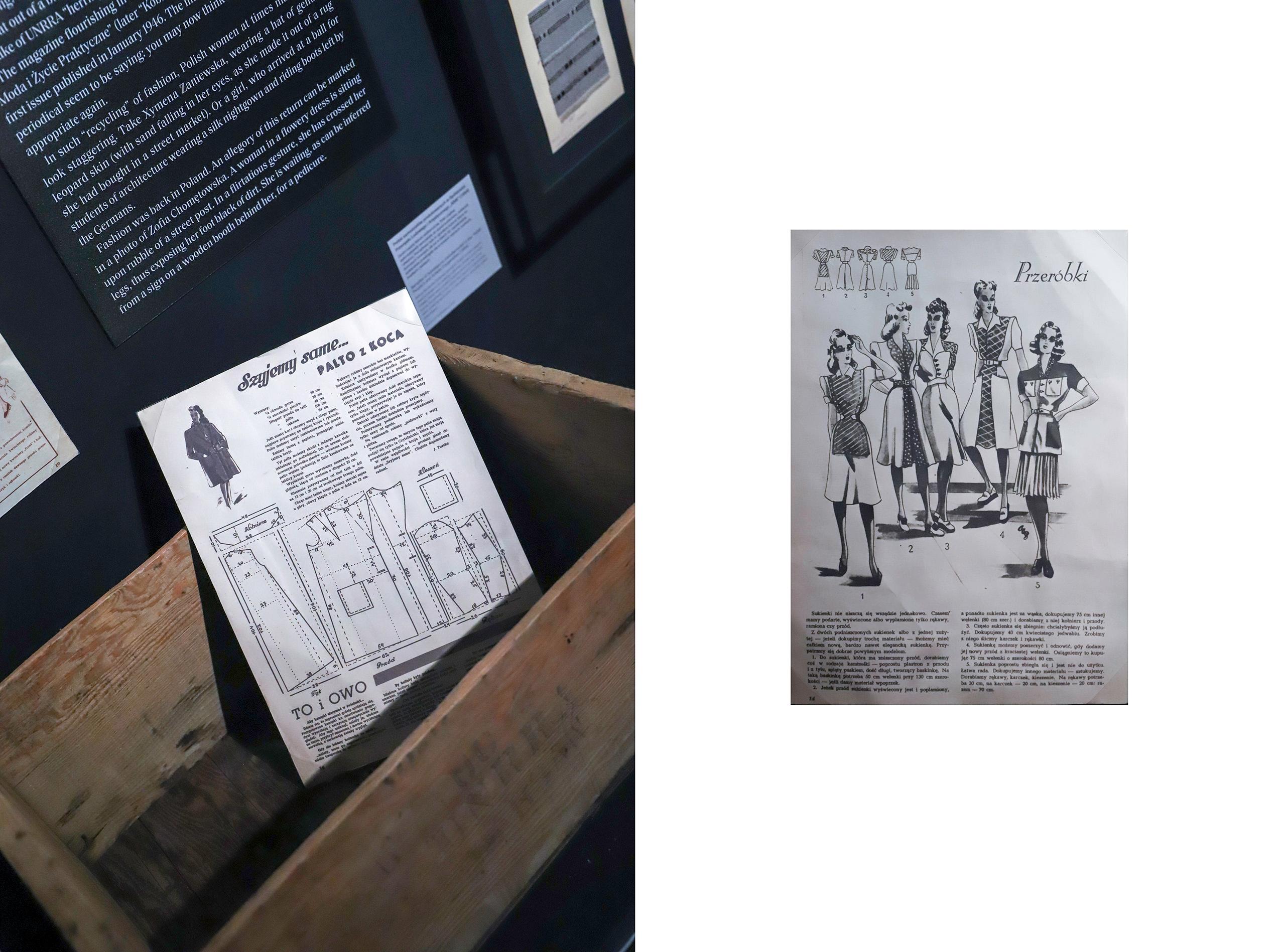 Obraz przedstawia dwa zdjęcia starych gazet. Na zdjęciu z lewej strony gazeta umieszczona została w drewnianej skrzynce.