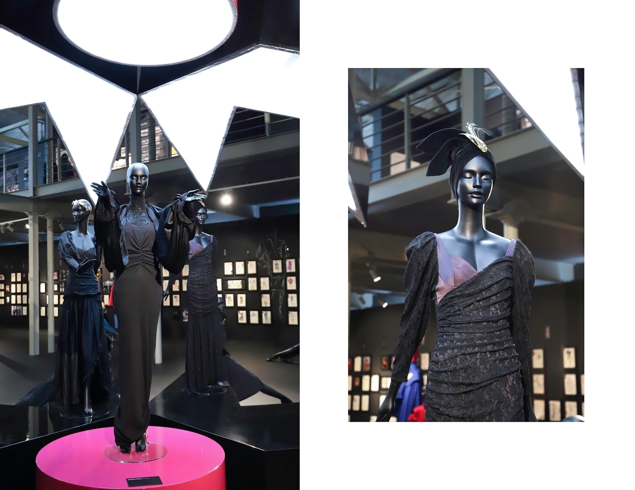 Obraz przedstawia dwa zdjęcia manekinów ubranych w czarne koronkowe sukienki.