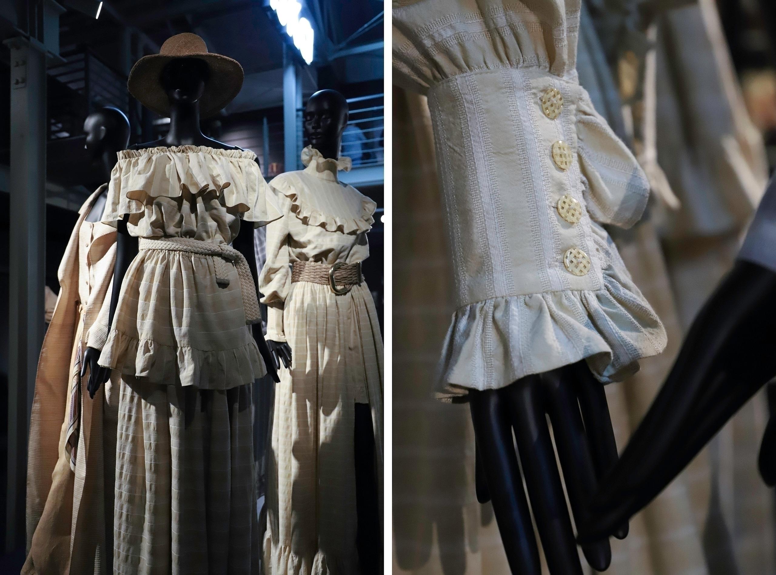 Obraz przedstawia dwa zdjęcia. Po lewej widzimy grupę manekinów ubranych w beżowe, lniane stroje, po prawej zbliżenie na detale.