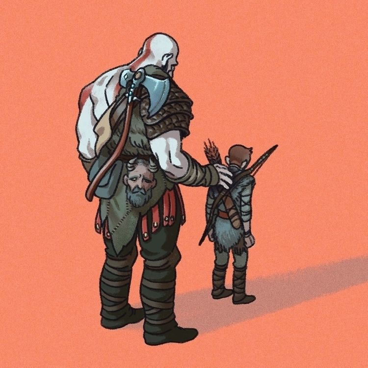 moments Kratos son hug - illustration - agroshka | ello