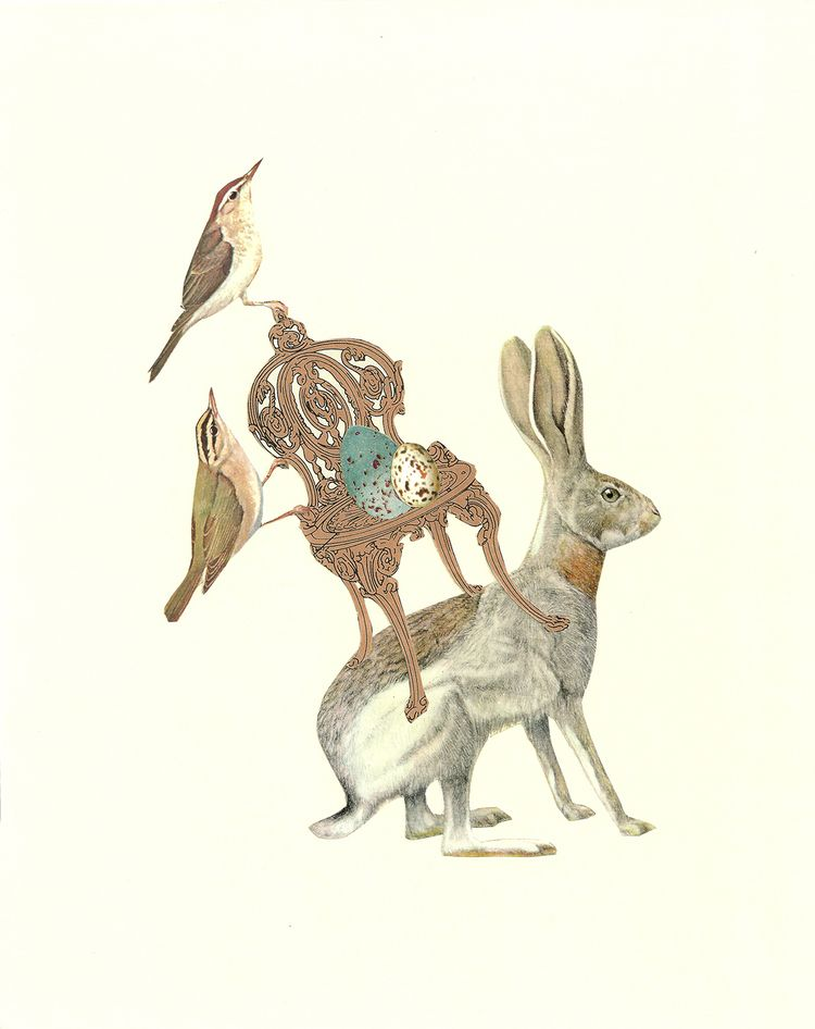 Snowbirds - rabbit, collage, paperart - danielletcole | ello