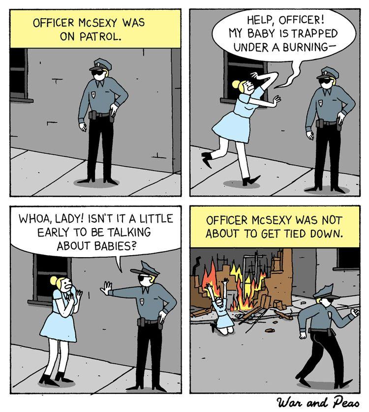 bullet dodged Officer McSexy - comic - warandpeas | ello