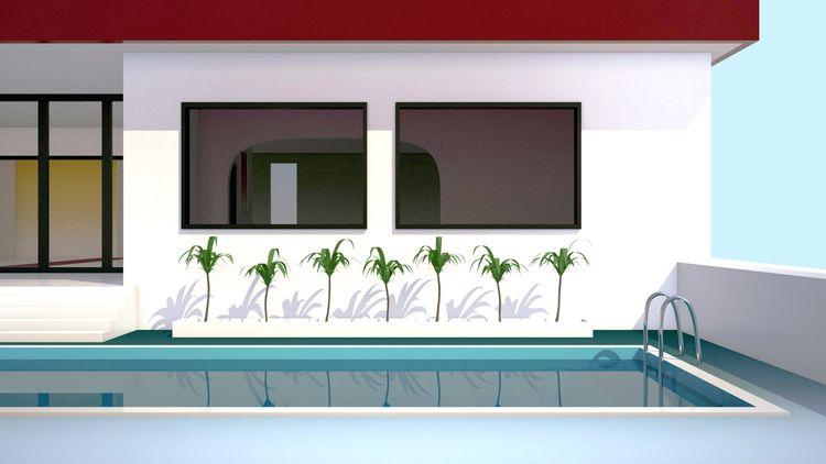 Pool frame house - illustration - laurencejmoss | ello