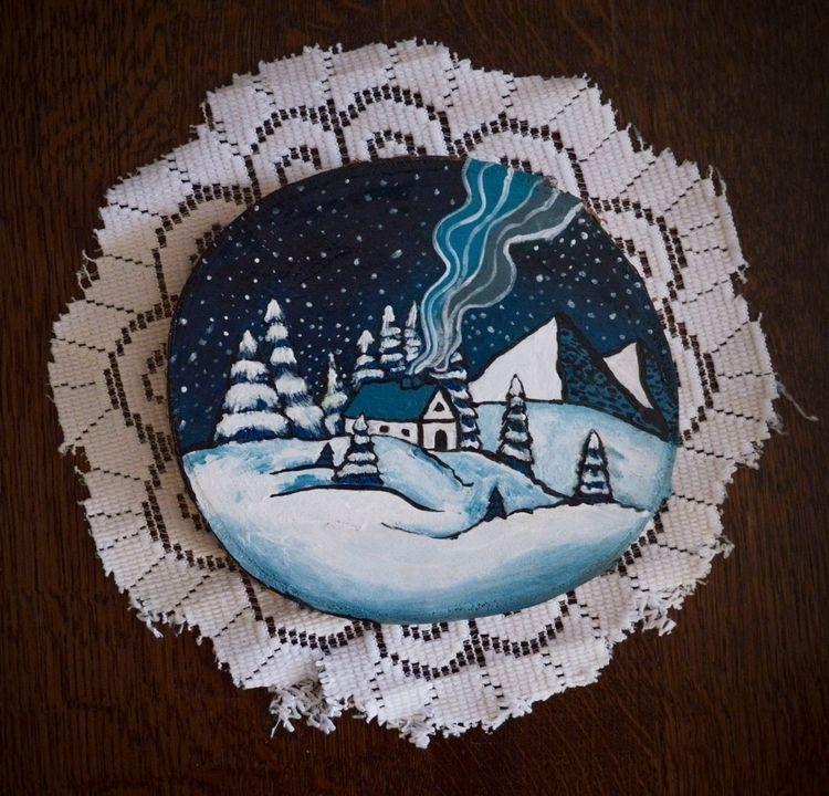 painting, wood, wooden, art, winter - maksmj | ello