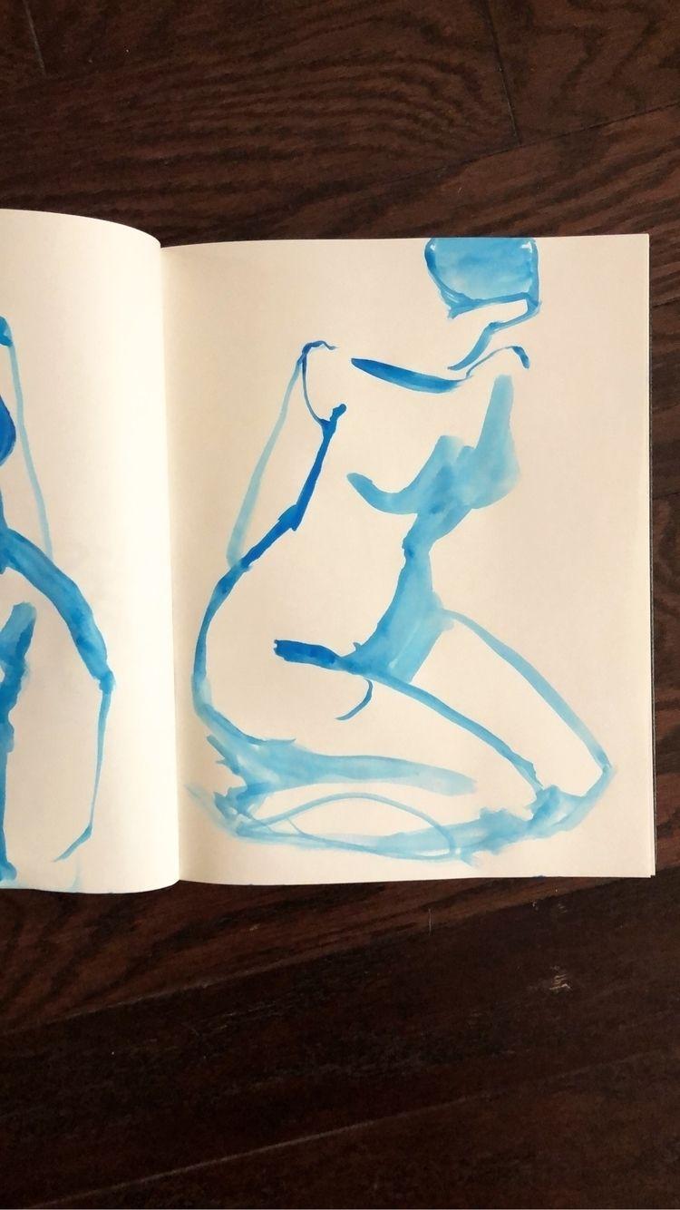 blue girl sketchbook - watercolor - blflood | ello
