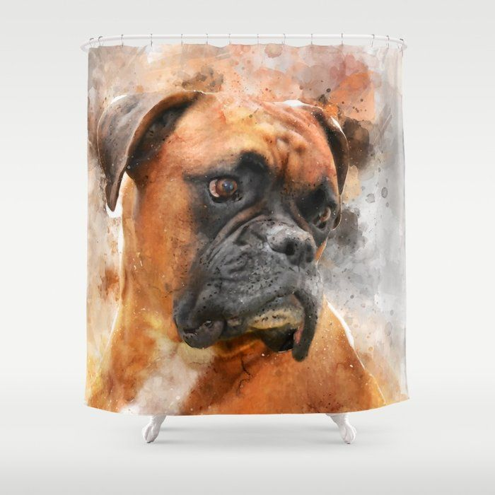 Boxer Dog Thinking Shower Curta - creativeaxle | ello