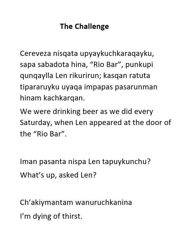 Excerpt short story, Challenge - hatun | ello