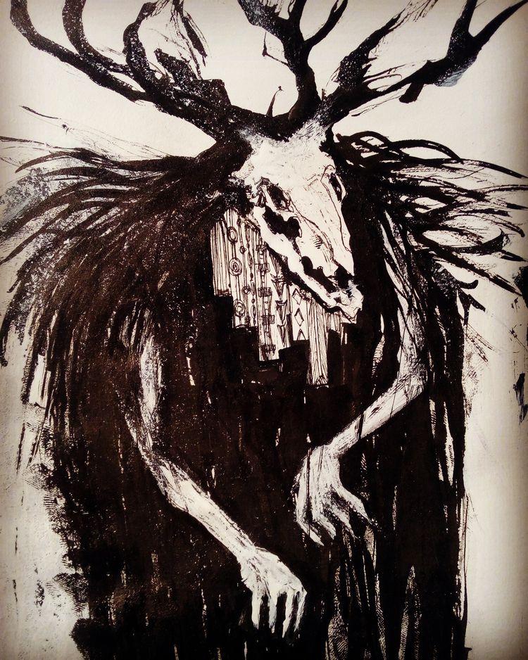 demon, blackwhite, ink, draw - willhelmmars | ello