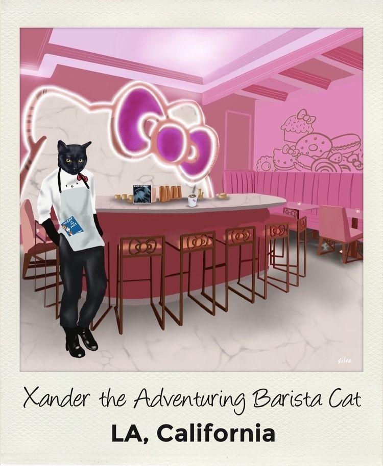 Xander Adventuring Barista Cat  - nightrav3n | ello