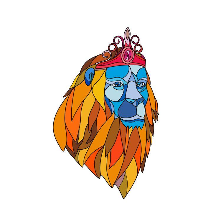 Lion Wearing Tiara Mosaic Color - patrimonio | ello