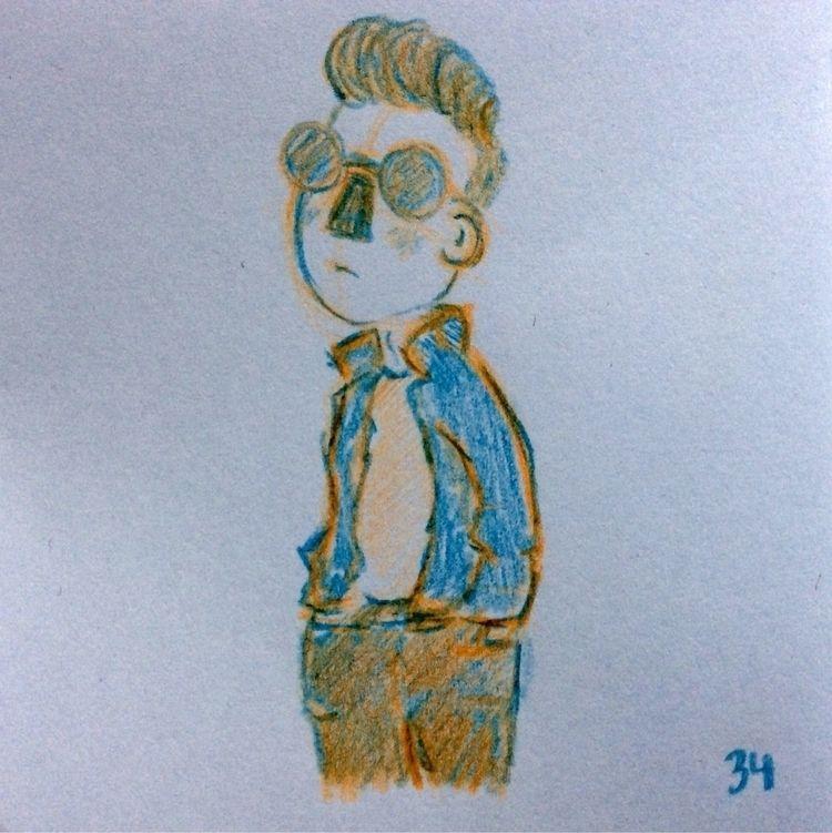 Sketch - man, sunglasses, art, dark - annahruskova | ello