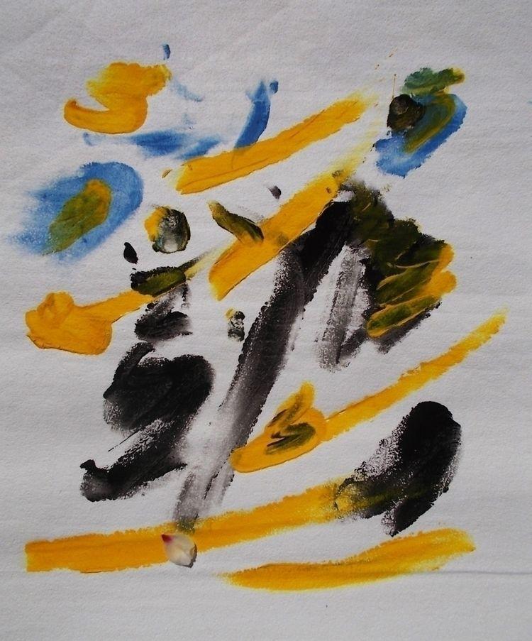 Yellow Powerful  - acryl, acrylic - anizeu | ello