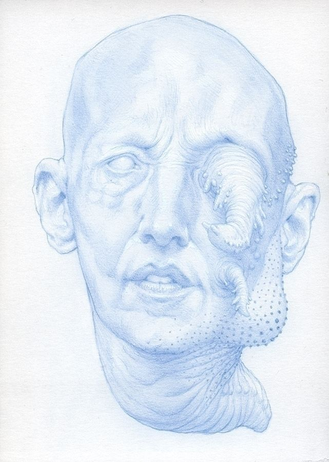 Lumpy face growth. 5 7 blue pen - nathanreidt   ello