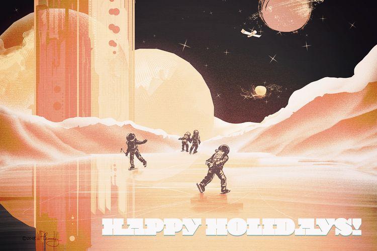 Happy Holidays! Skating Mars,  - wflemming | ello