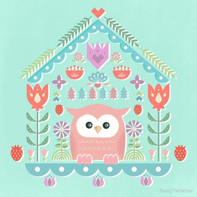 """Scandinavian Folk Style Owl Bi - littlebunnysunshine | ello"
