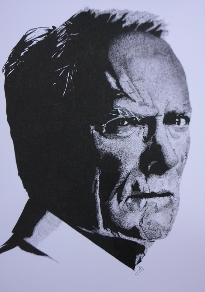 Clint Eastwood A3 stippled ink - allthingsinky | ello