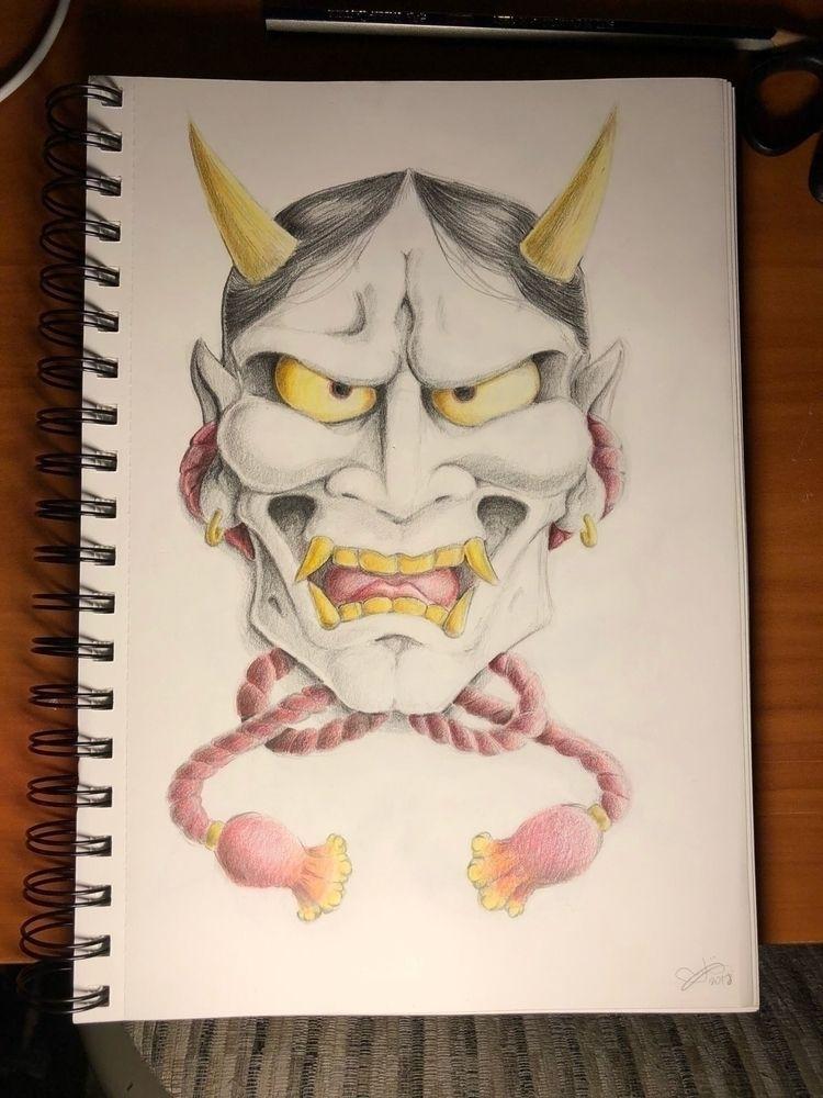 hannya mask. Colored pencil - art - kadjandraw | ello