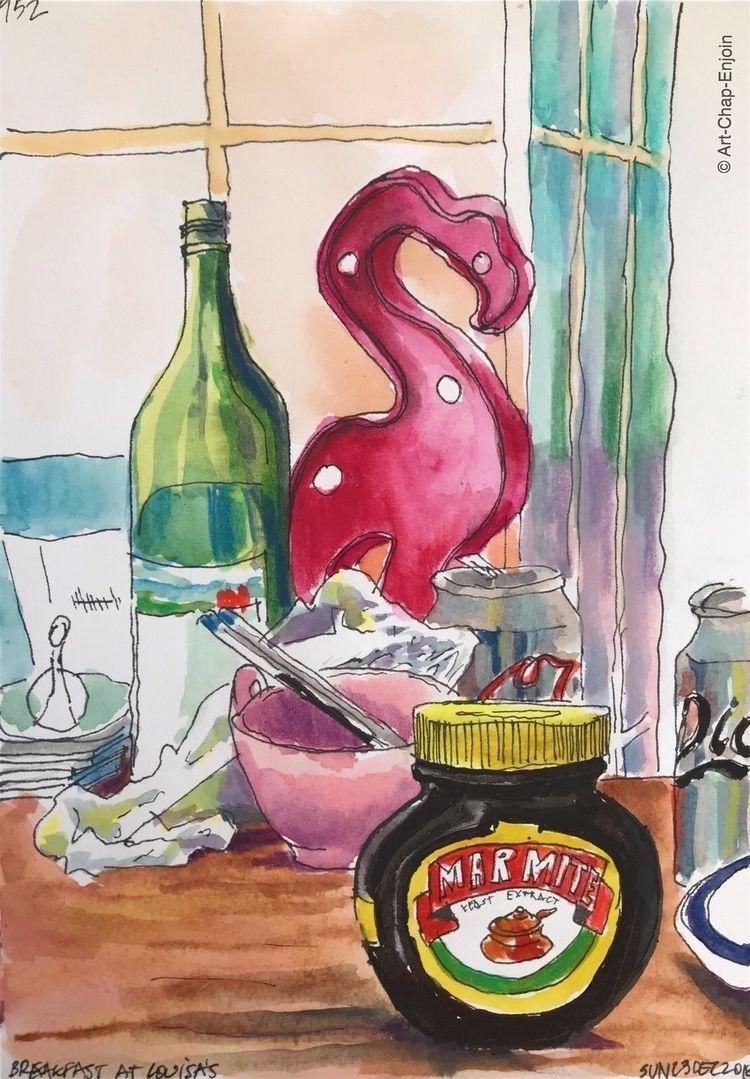 952 - Breakfast sketch Brighton - artchapenjoin | ello