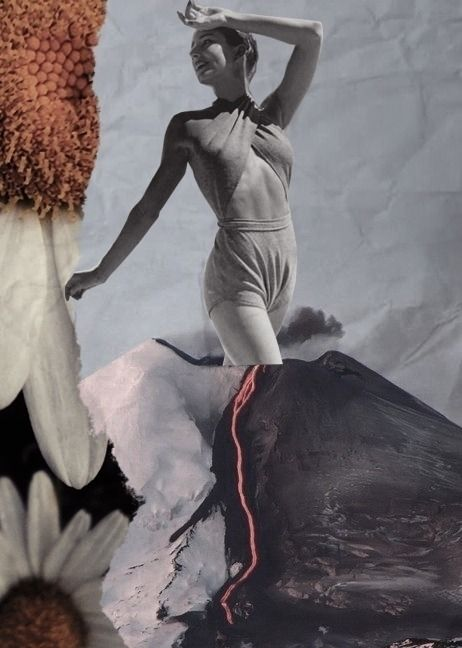 Volcano Girl - collage, collageart - depressedpsycho   ello
