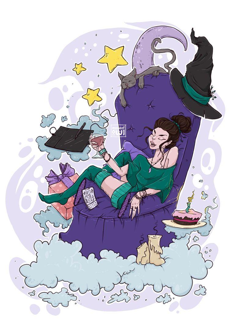 Witchy Birthday Party digital i - moondustowl | ello