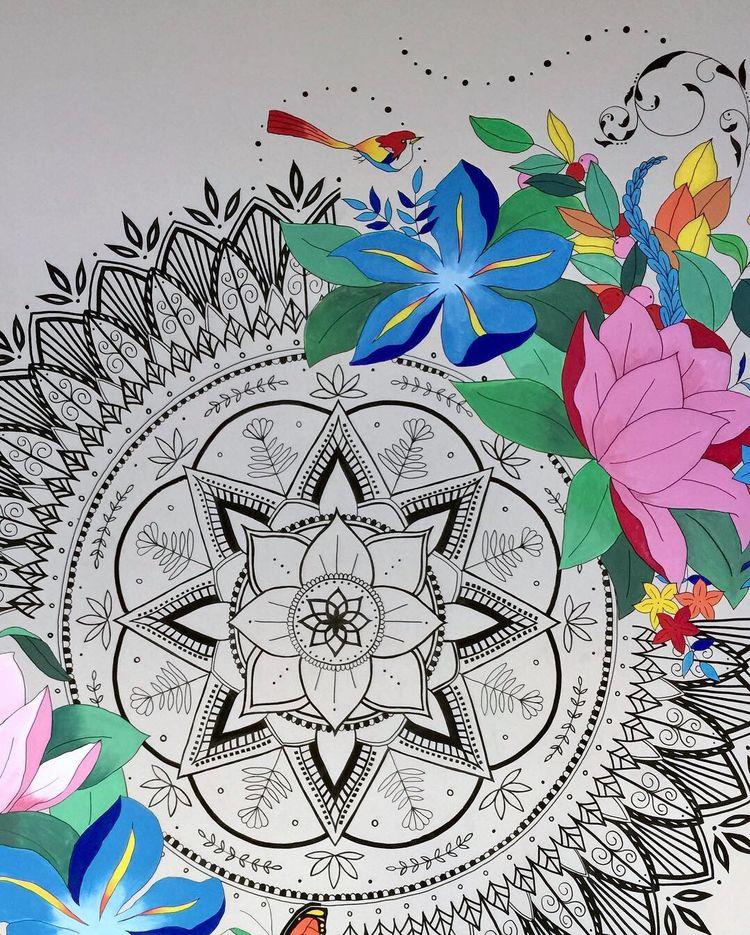 Mandala + Modern Florals Mural  - leahdesign | ello