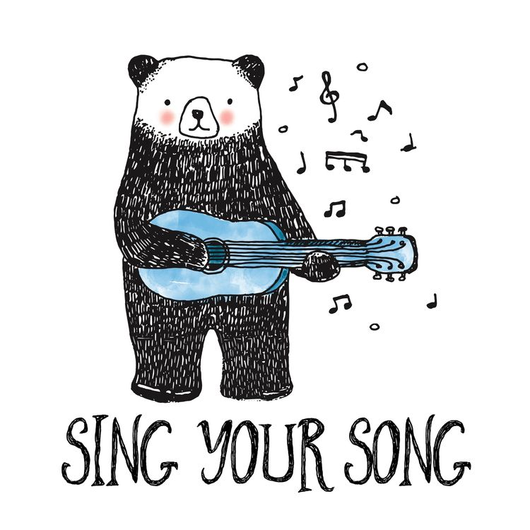 """Sing beautiful - illustration, bear - littlebunnysunshine 