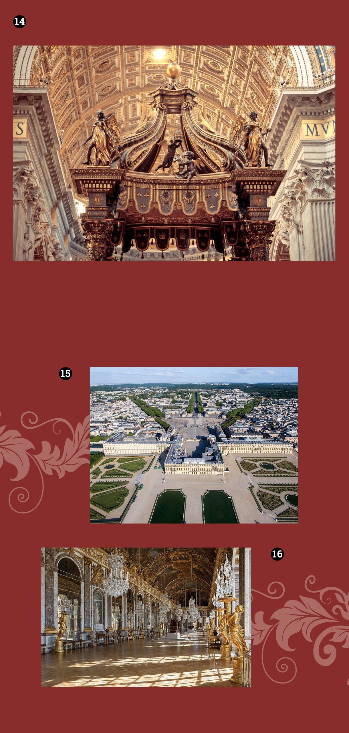 Obraz przedstawia trzy zdjęcia barokowych budowli na bordowym tle.