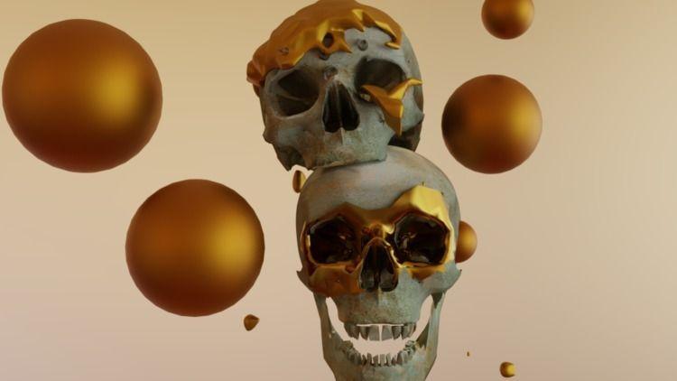 Golden skulls blender 3D - tinkerbee17 | ello