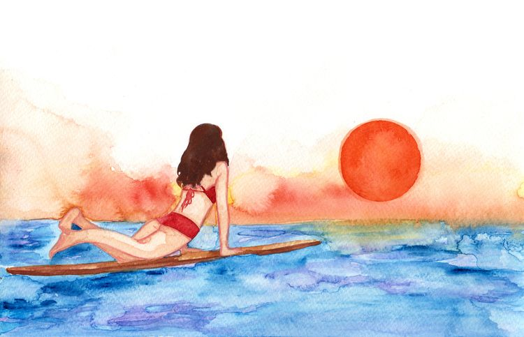 surfing, watercolor, illustration - starista | ello