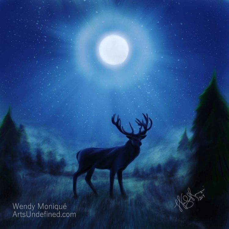 Daily Doodle - Stag Moonlight i - artsundefined | ello
