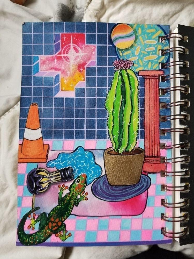 myart, vaporwave, colors, illustration - witheringeye | ello