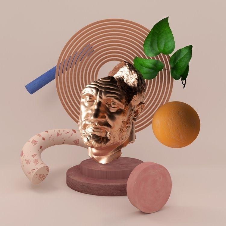illustration lying lost head - cinema4d - mathieucloart | ello