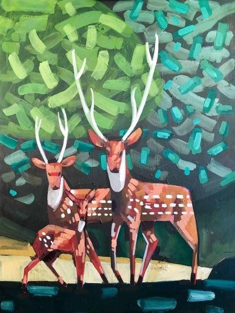 Deer family - art, painting, animals - bilchamberlin | ello