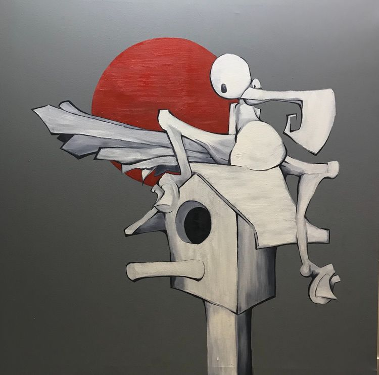 BirdHouse oil canvas Submitted  - johndiss | ello