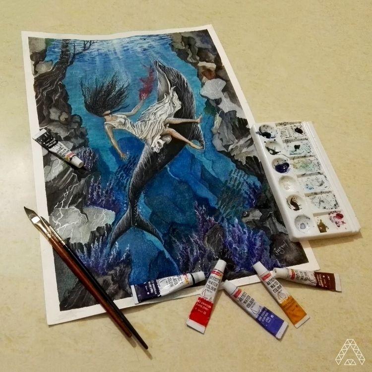 Watercolors, Deep, Water, Dolphine - justustrio | ello
