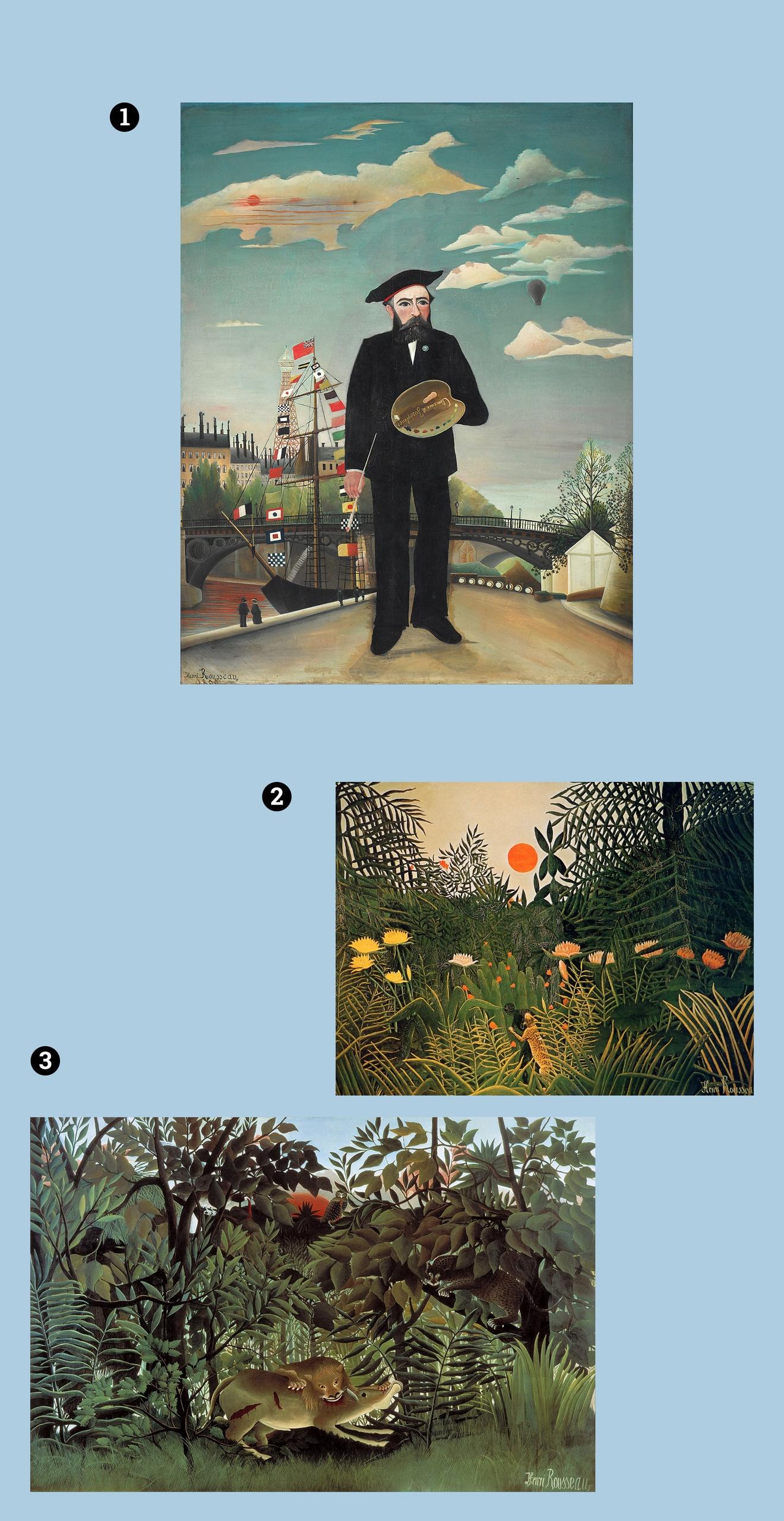 Obraz przedstawia trzy zdjęcia obrazów znanego artysty na jasno-niebieskim tle.