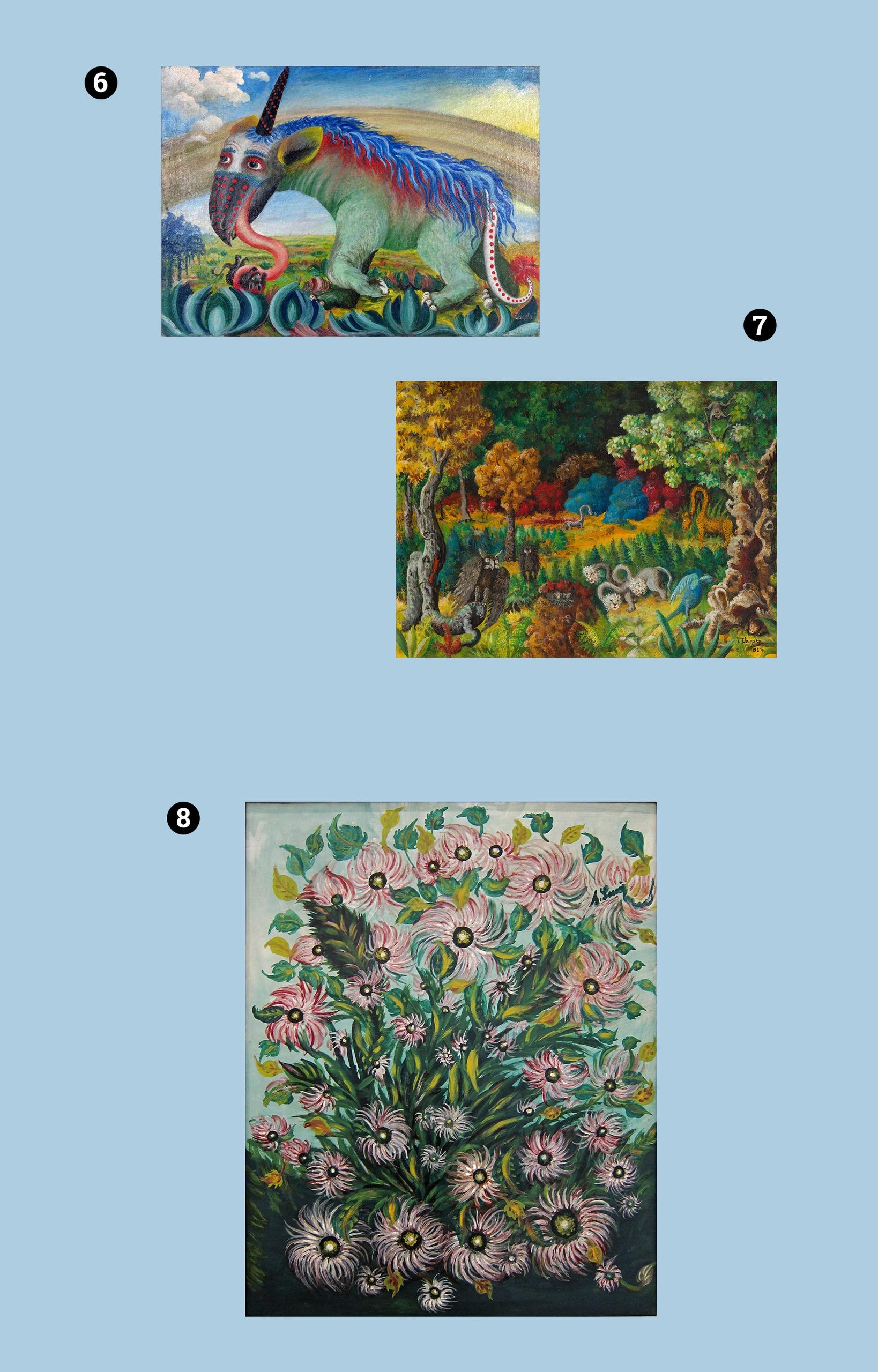 Obraz przedstawia trzy zdjęcia kolorowych dzieł artystów. Całość na jasno-niebieskim tle.