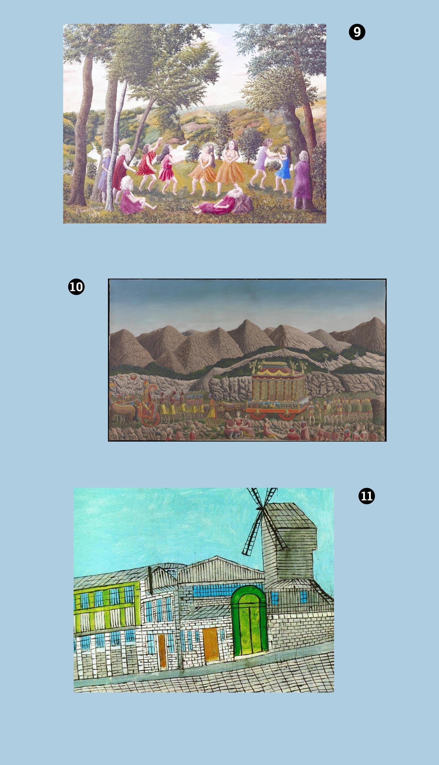 Obraz przedstawia trzy fotografie kolorowych dzieł artystów na błękitnym tle.