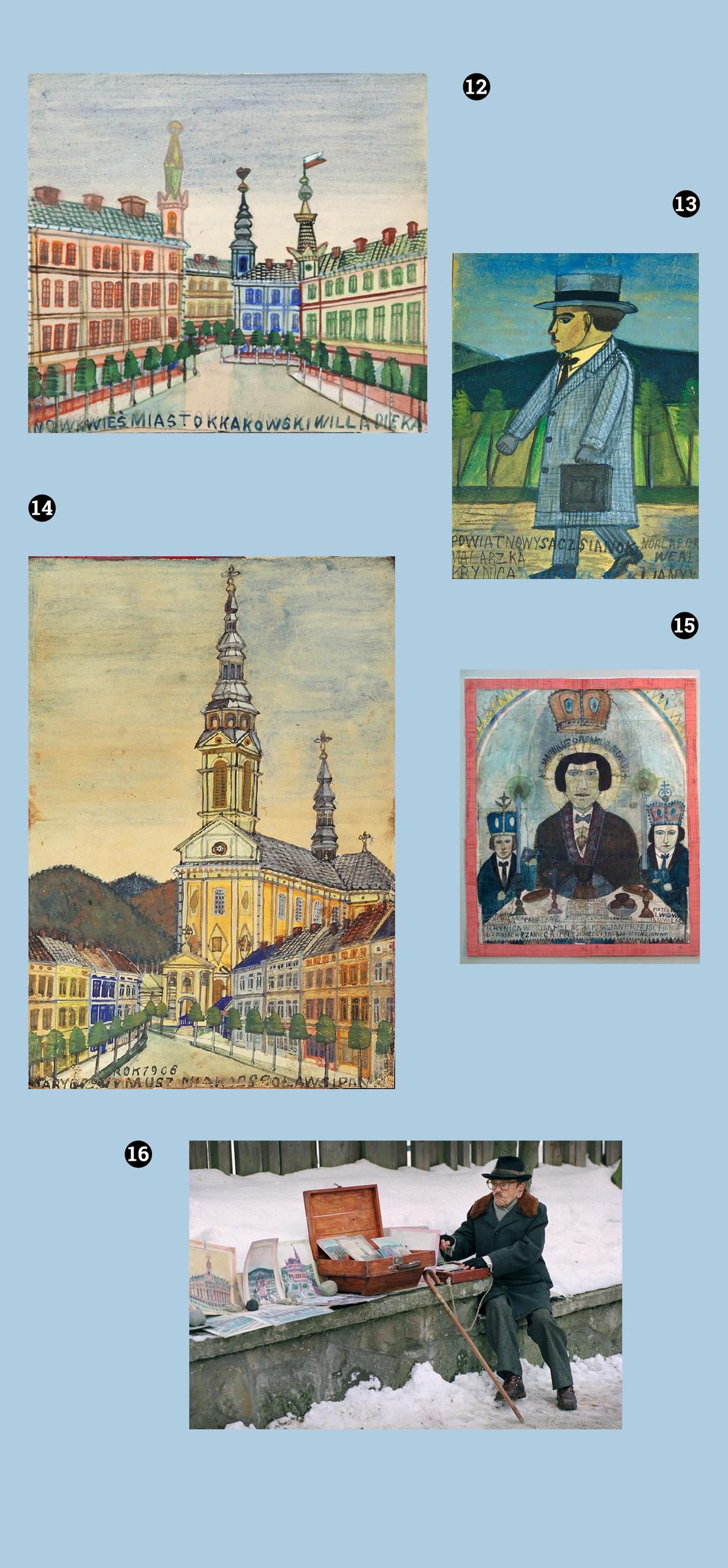 Obraz przedstawia pięć zdjęć na błękitnym tle. Na czterech z nich widzimy obrazy znanego artysty. Piąte zdjęcie przedstawia siedzącą postać w zimowej scenerii.