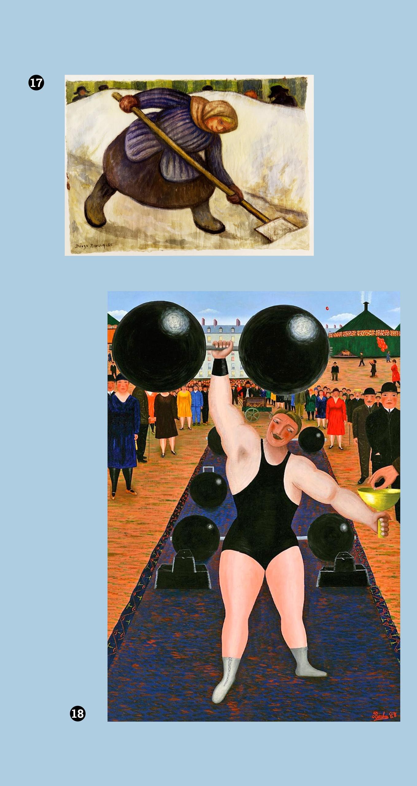Obraz przedstawia dwa zdjęcia obrazów znanych artystów. Całość na błękitnym tle.