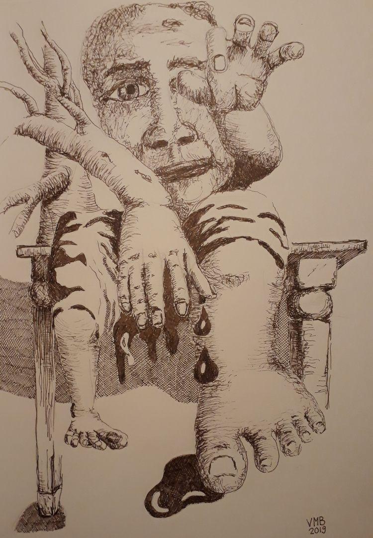 'Bleeding finger' Ink paper 11  - vincent_bakker | ello