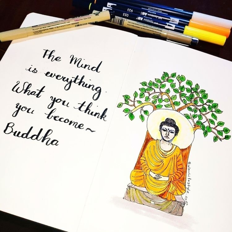 mind ~ Buddha Sketch day 1196 m - bulanlifestyle   ello