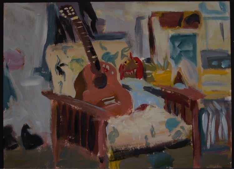 Guitar Chair. Acrylic Paper 11x - ploopie-flooper | ello