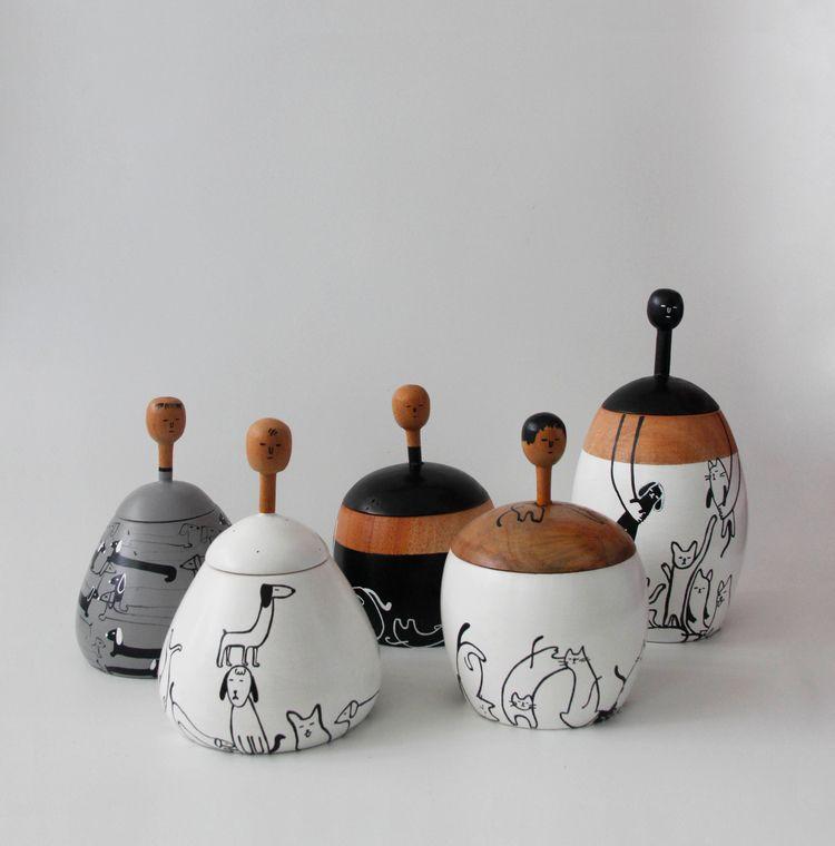 ob.020 obie wooden cup meow woo - tobingdewi | ello