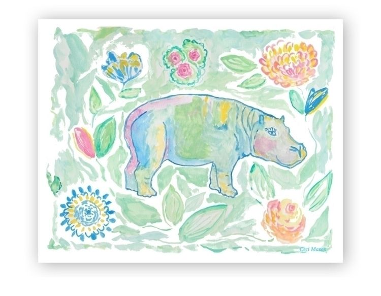 Colorful Hippo art print bright - digalinda | ello
