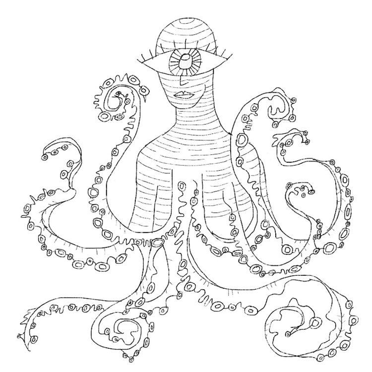 pool god - swimming, octopus, eyeball - catswilleatyou | ello