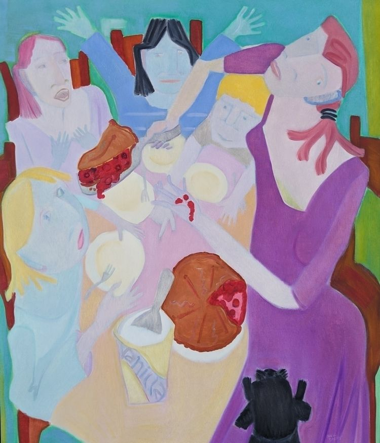Pie Eaters, oil canvas, 62x54,  - markbarry | ello