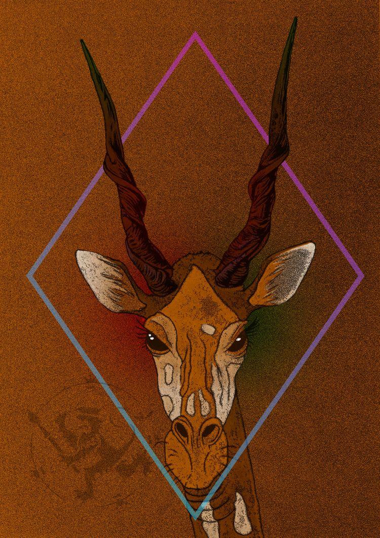 Slightly twisted Giraffe Elandi - fafaillustrations | ello